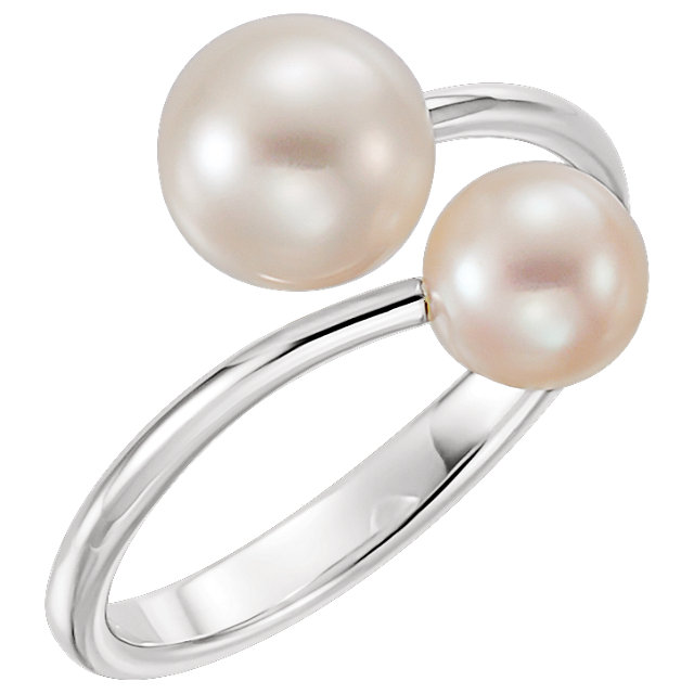 Must See 14 Karat White Gold Freshwater Cultured Pearl Ring