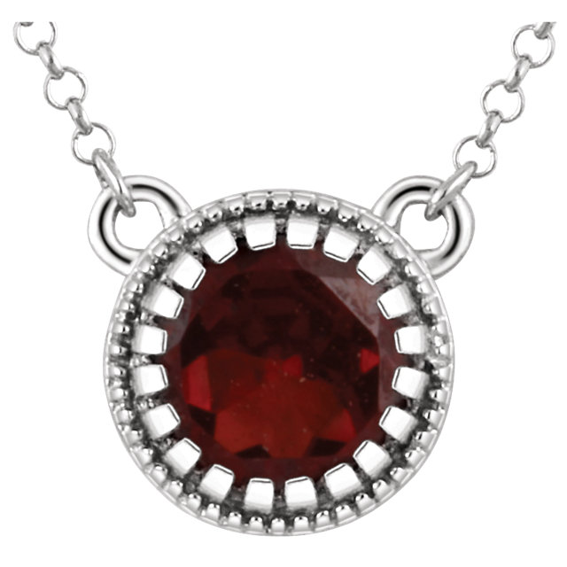 Appealing Jewelry in 14 Karat White Gold Garnet