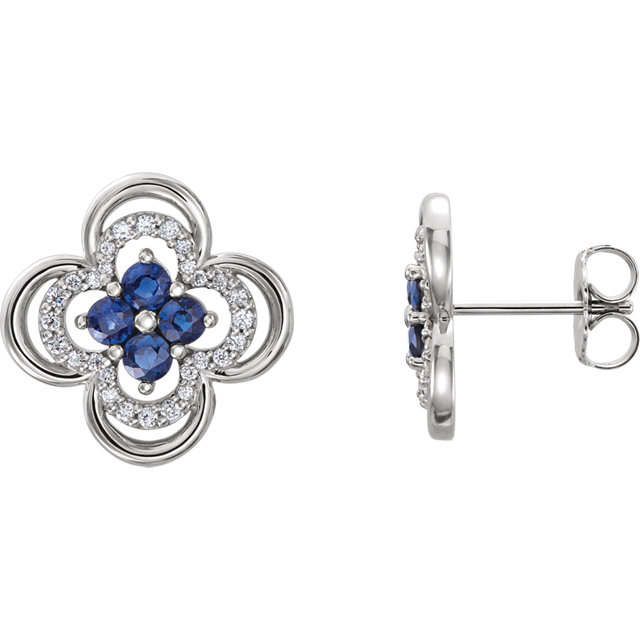 Chic 14 Karat White Gold Blue Sapphire & 0.20 Carat Total Weight Diamond Clover Earrings