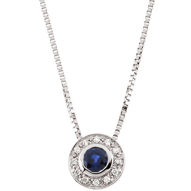 Must See 14 Karat White Gold Blue Sapphire & .06 Carat Total Weight Diamond 18