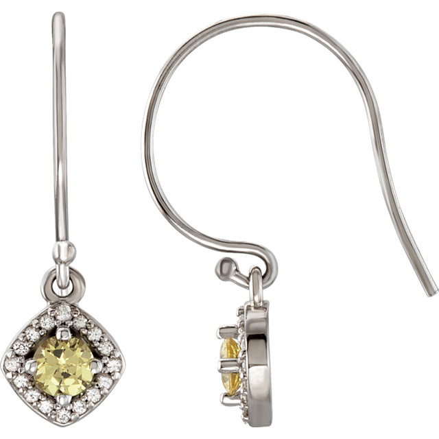 14KT White Gold Halo-Style Sapphire Dangle Earrings