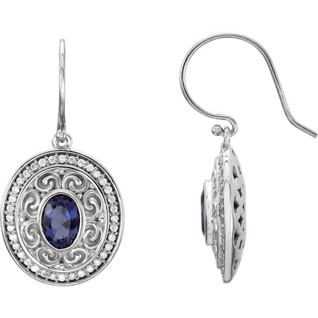 Contemporary 14 Karat White Gold Iolite & 0.33 Carat Total Weight Diamond Earrings