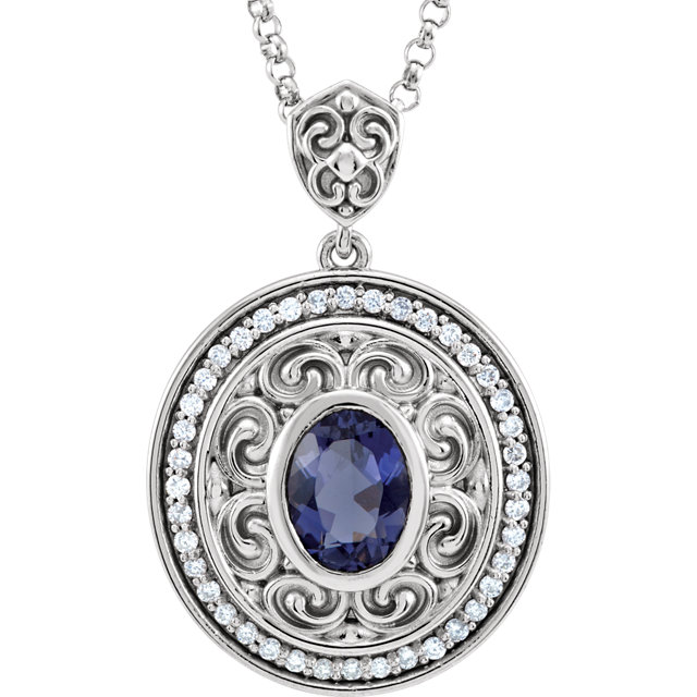 Deal on 14 KT White Gold Iolite & 0.12 Carat TW Diamond 18