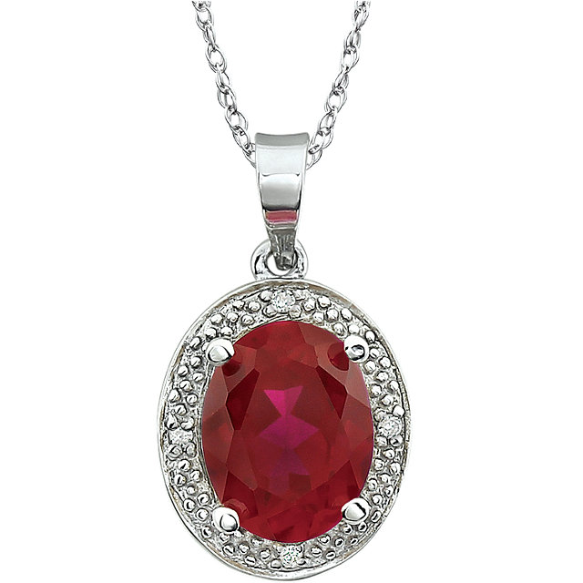 Surprise Her with  14 Karat White Gold Lab-Grown Ruby & .02 Carat Total Weight Diamond 18