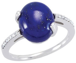 Very Nice 14 Karat White Gold Lapis & .08 Carat Total Weight Diamond Ring