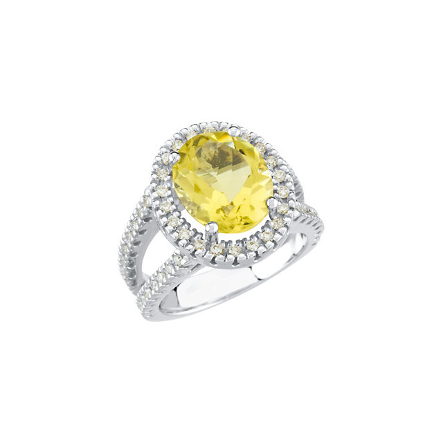 Fine Quality 14 Karat White Gold Lemon Quartz & 0.50 Carat Total Weight Diamond Ring