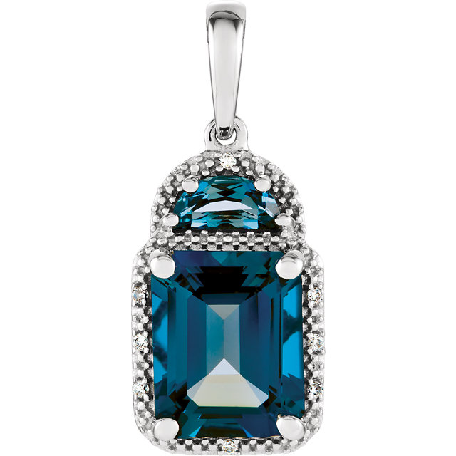 Appealing Jewelry in 14 Karat White Gold London Blue Topaz & .03 Carat Total Weight Diamond Pendant