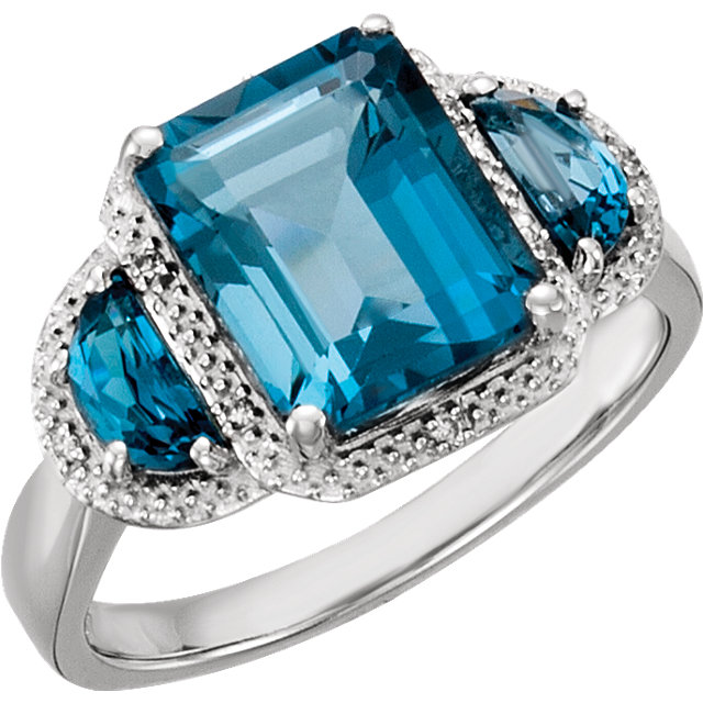 Remarkable 14 Karat White Gold Emerald Genuine London Blue Topaz & .03 Carat Total Weight Diamond Ring