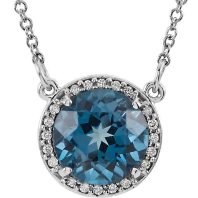 Perfect Gift Idea in 14 Karat White Gold 8mm Round London Blue Topaz & .05 Carat Total Weight Diamond 16