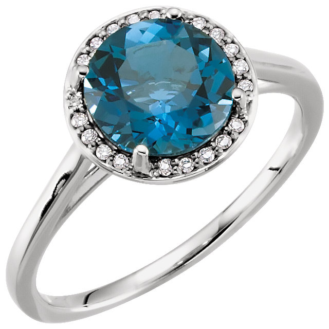 Terrific 14 Karat White Gold Round Genuine London Blue Topaz & .05 Carat Total Weight Diamond Ring