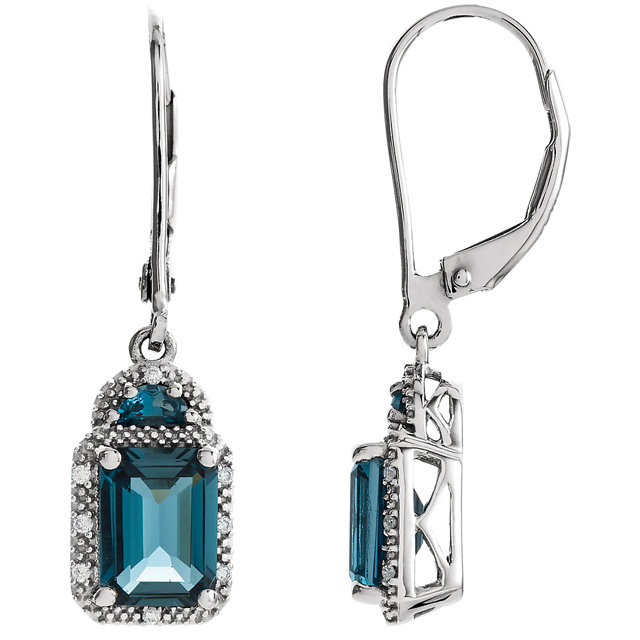 Eye Catchy 14 Karat White Gold London Blue Topaz & .06 Carat Total Weight Diamond Earrings