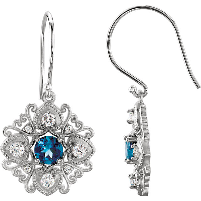Fine Quality 14 Karat White Gold London Blue Topaz & 0.50 Carat Total Weight Diamond Vintage-Style Earrings