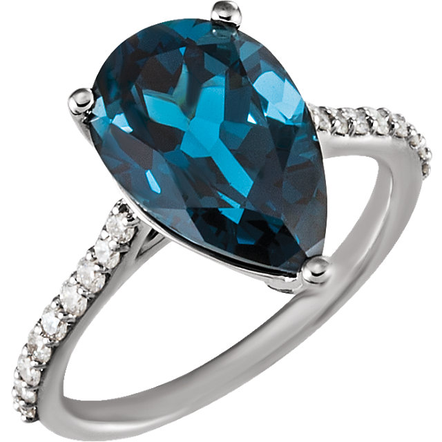 Shop 14 Karat White Gold London Blue Topaz & 0.25 Carat Diamond Ring