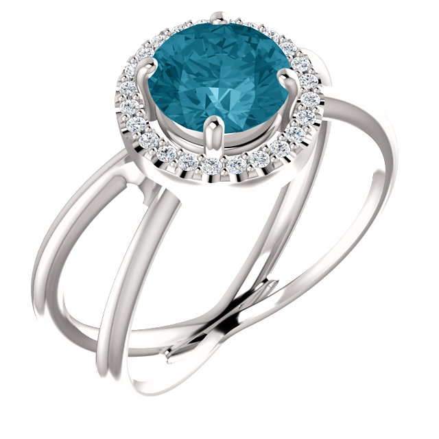 Trendy 14 Karat White Gold Round Genuine London Blue Topaz & 1/10 Carat Total Weight Diamond Halo-Style Ring