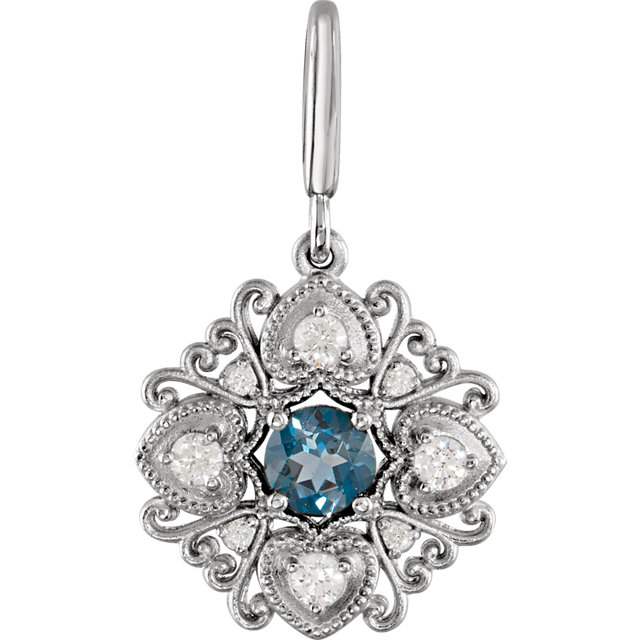 Perfect Gift Idea in 14 Karat White Gold London Blue Topaz & Diamond Vintage-Style Charm