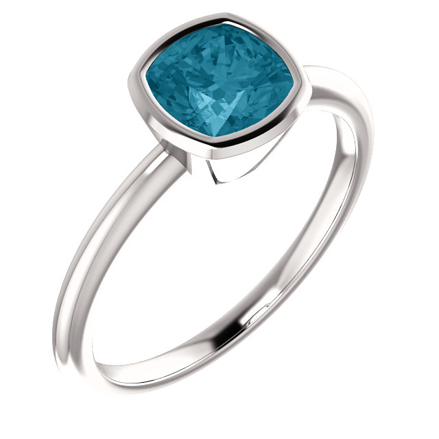 Chic 14 Karat White Gold Cushion Genuine London Blue Topaz Ring