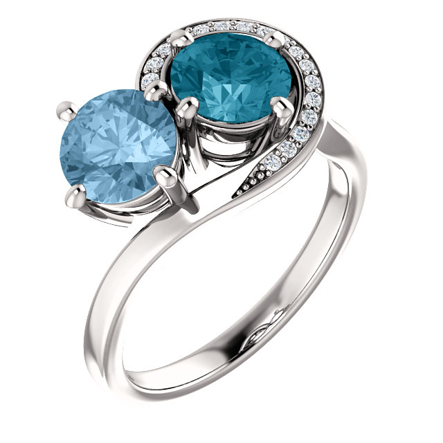Contemporary 14 Karat White Gold London Blue Topaz & Sky Blue Topez .06 Carat Total Weight Diamond Ring