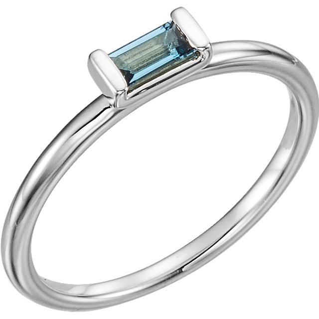 Striking 14 Karat White Gold Straight Baguette Genuine London Blue Topaz Stackable Ring
