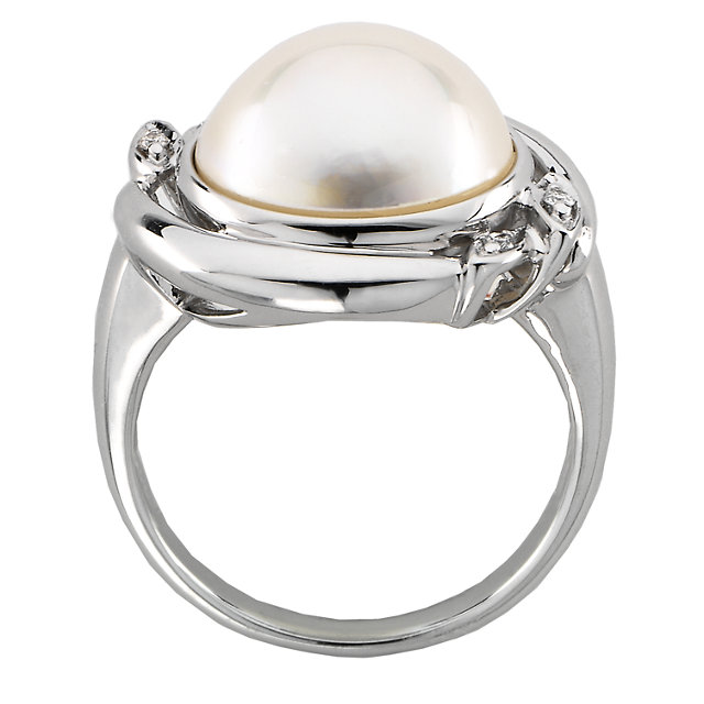 14KT White Gold Mabe Pearl & .04 Carat Total Weight Diamond Ring
