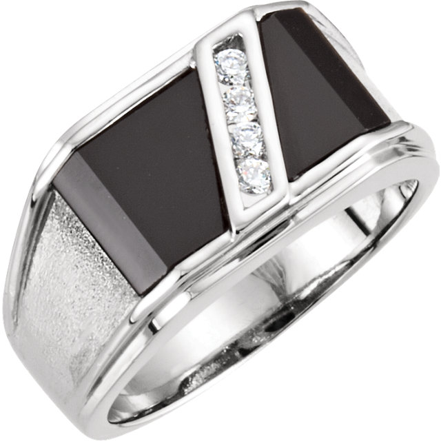 Pleasing 14 Karat White Gold Men's Round Genuine Onyx & 1/8 Carat Total Weight Diamond Ring