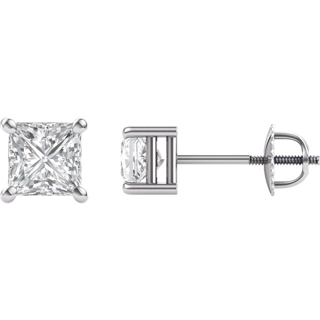 14KT White Gold mm Square Forever Brilliant Moissanite 4-Prong Stud Earrings