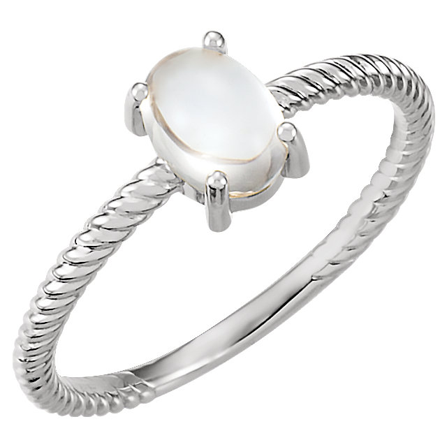 Appealing Jewelry in 14 Karat White Gold Moonstone Cabochon Ring