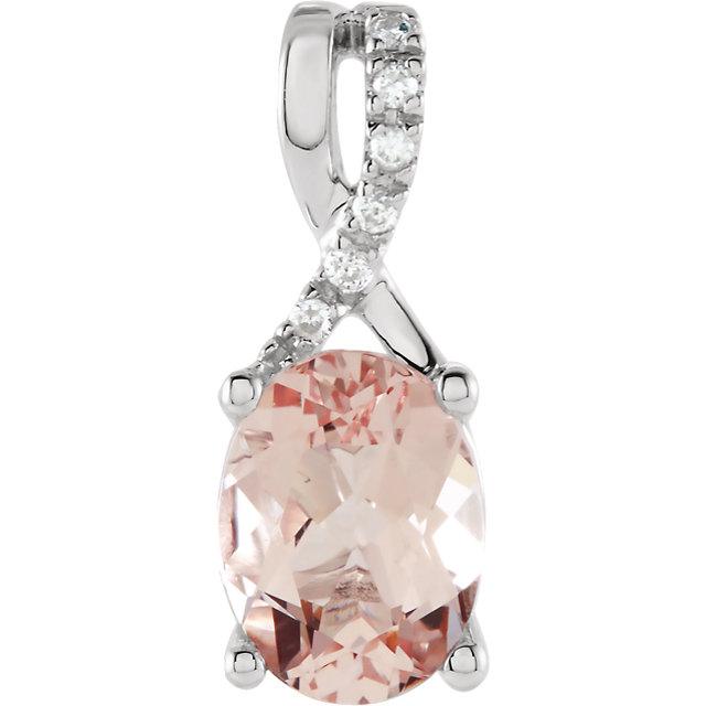 Surprise Her with  14 Karat White Gold Morganite & .03 Carat Total Weight Diamond Pendant