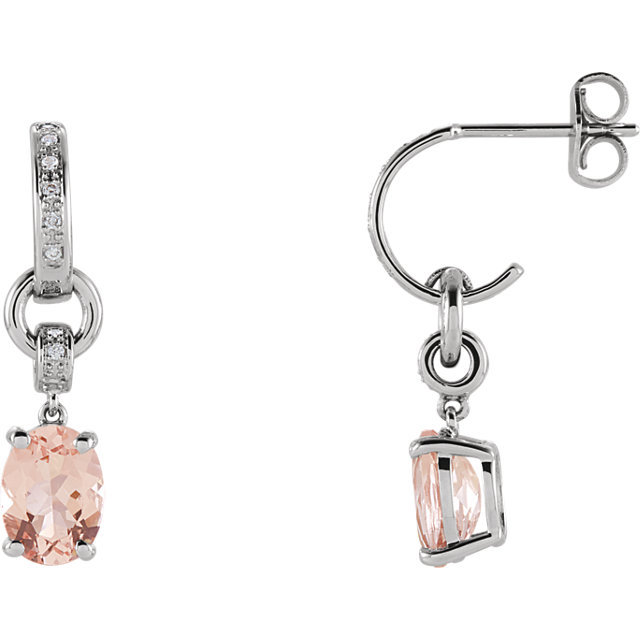 Beautiful 14 Karat White Gold Morganite & .05 Carat Total Weight Diamond Earrings