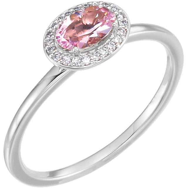 Quality 14 KT White Gold Morganite & .05 Carat TW Diamond Ring