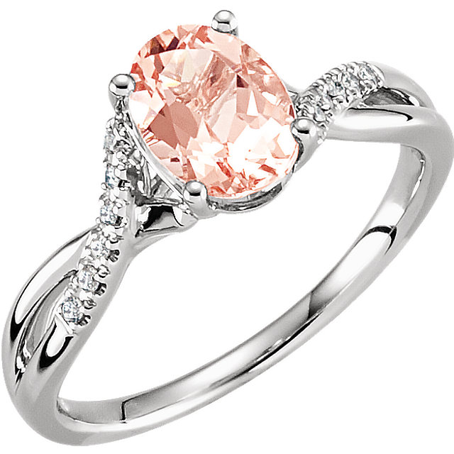 Shop 14 KT White Gold Morganite & .06 Carat TW Diamond Ring Size 7
