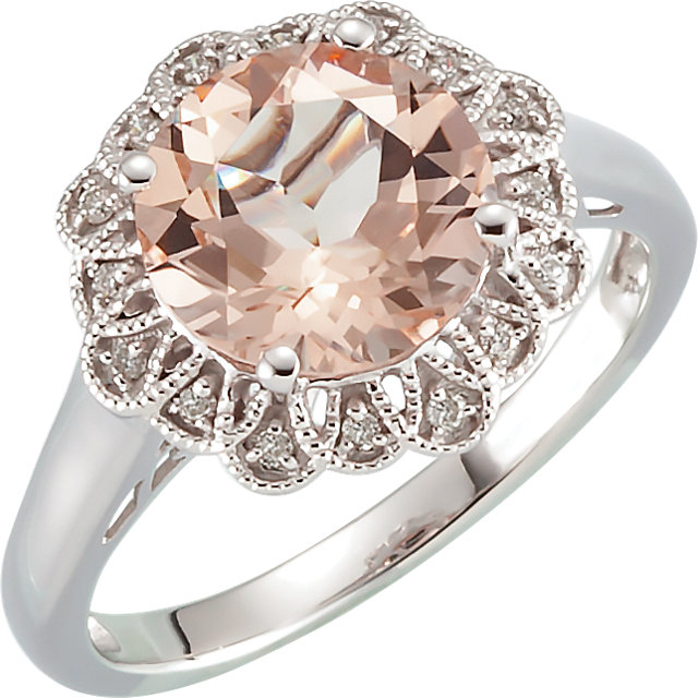 Chic 14 Karat White Gold Morganite & .08 Carat Total Weight Diamond Ring