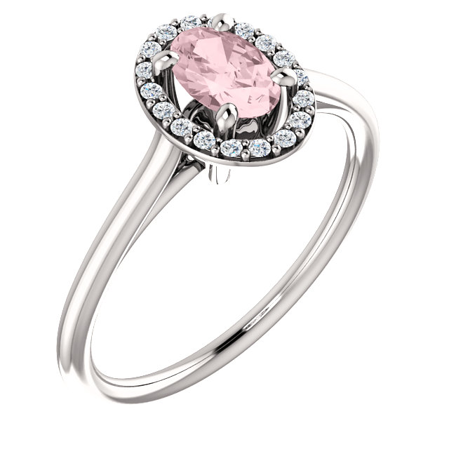 Perfect Gift Idea in 14 Karat White Gold Morganite & 0.10 Carat Total Weight Diamond Ring