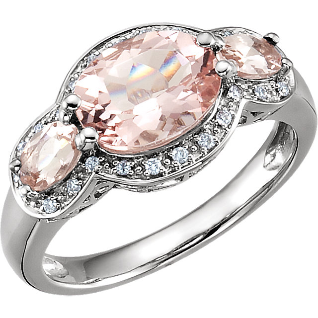 Great Deal in 14 Karat White Gold Morganite & 0.10 Carat Total Weight Diamond Ring