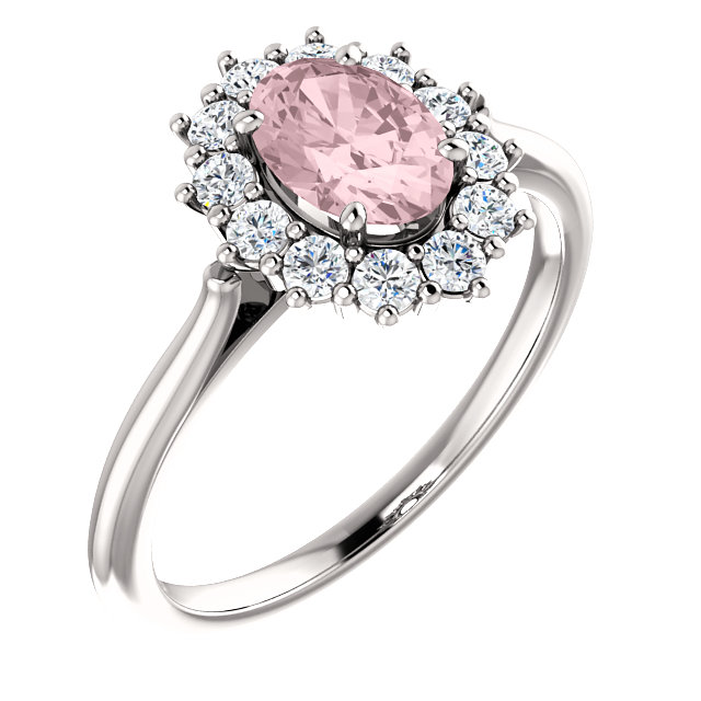 Great Gift in 14 Karat White Gold Morganite & 0.33 Carat Total Weight Diamond Ring
