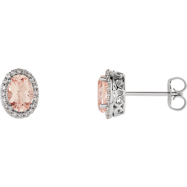Appealing Jewelry in 14 Karat White Gold Morganite & 0.20 Carat Total Weight Diamond Earrings