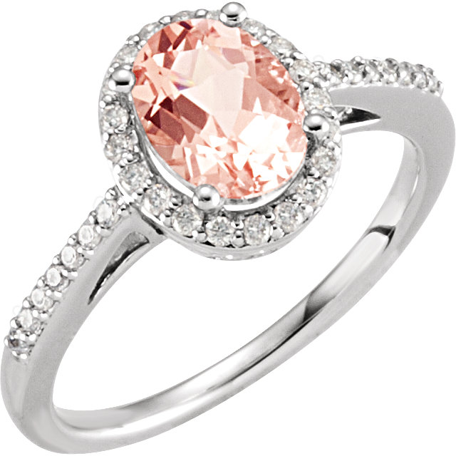 Genuine 14 KT White Gold Morganite & 0.20 Carat TW Diamond Ring