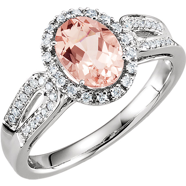 Eye Catchy 14 Karat White Gold Morganite & 0.20 Carat Total Weight Diamond Ring