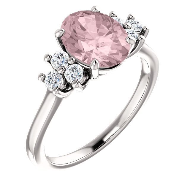 Surprise Her with  14 Karat White Gold Morganite & 0.20 Carat Total Weight Diamond Ring