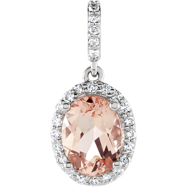 Great Buy in 14 Karat White Gold Morganite & 0.17 Carat Total Weight Diamond Pendant