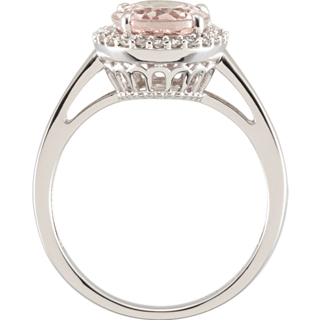 14KT White Gold Morganite & 1/6 Carat Total Weight Diamond Ring