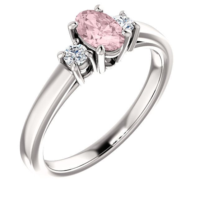 Wonderful 14 Karat White Gold Morganite & 0.12 Carat Total Weight Diamond Ring
