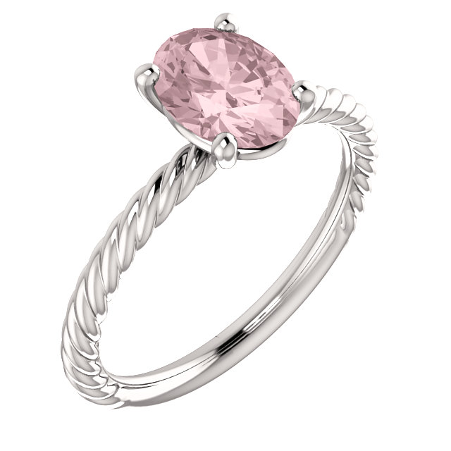 Perfect Gift Idea in 14 Karat White Gold Morganite Ring