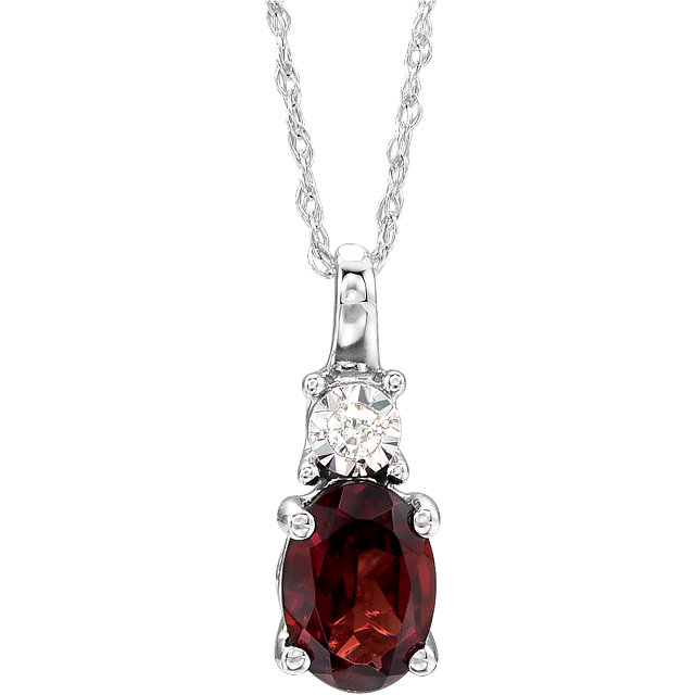 Contemporary 14 Karat White Gold Mozambique Garnet & .02Carat Total Weight Diamond 18