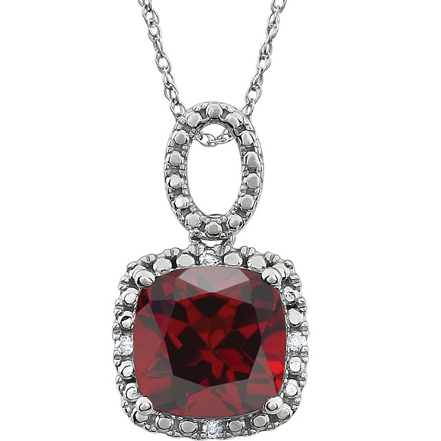 Wonderful 14 Karat White Gold Mozambique Garnet & .03 Carat Total Weight Diamond 18