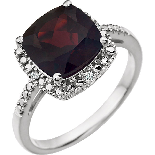 Lovely 14 Karat White Gold Cushion Genuine Mozambique Garnet & .03 Carat Total Weight Diamond Ring