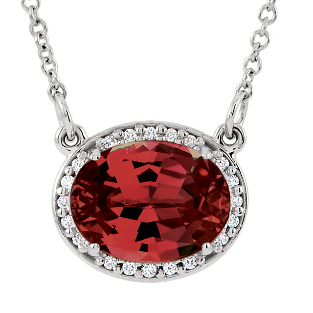 Easy Gift in 14 Karat White Gold Mozambique Garnet & .05 Carat Total Weight Diamond 16.5