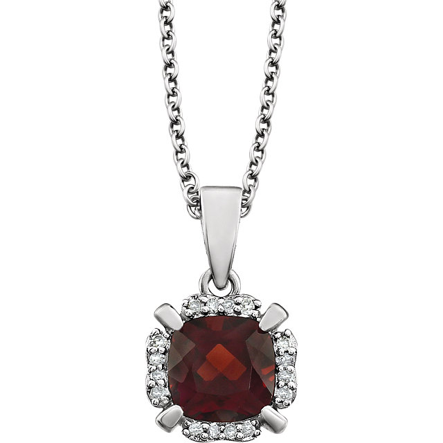 Great Buy in 14 Karat White Gold Mozambique Garnet & .05 Carat Total Weight Diamond 18