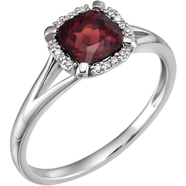 Good Looking 14 Karat White Gold Cushion Genuine Mozambique Garnet & .05 Carat Total Weight Diamond Ring