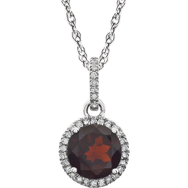 Surprise Her with  14 Karat White Gold Mozambique Garnet & 0.10 Carat Total Weight Diamond 18