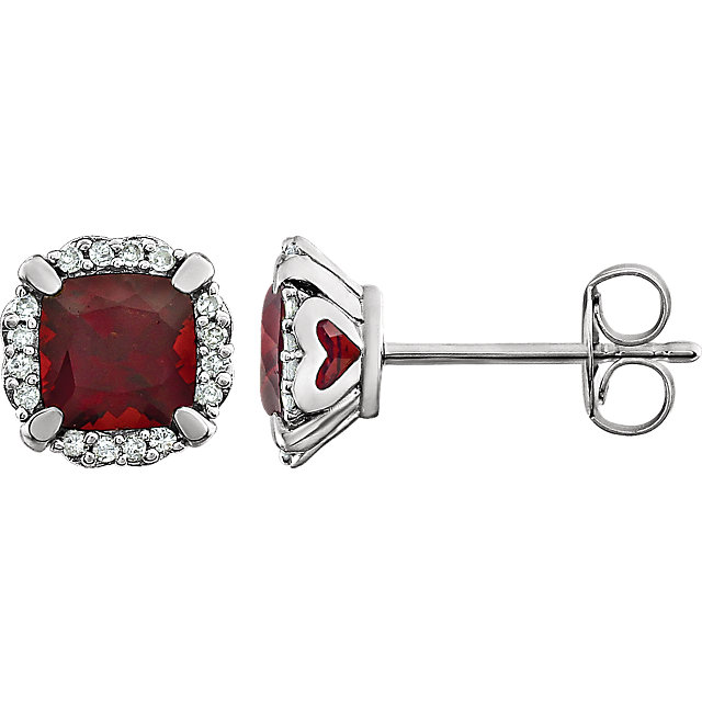 Striking 14 Karat White Gold Cushion Genuine Mozambique Garnet & 0.10 Carat Total Weight Diamond Earrings